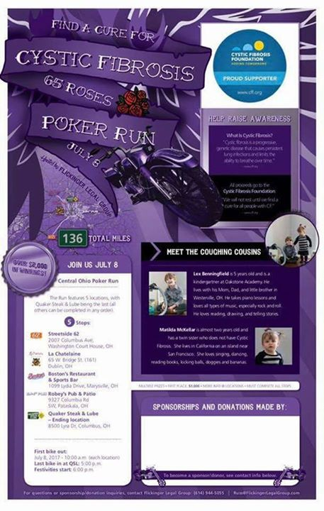 Save the date for our poker run. July 8th all proceeds will benefit the Cystic F…