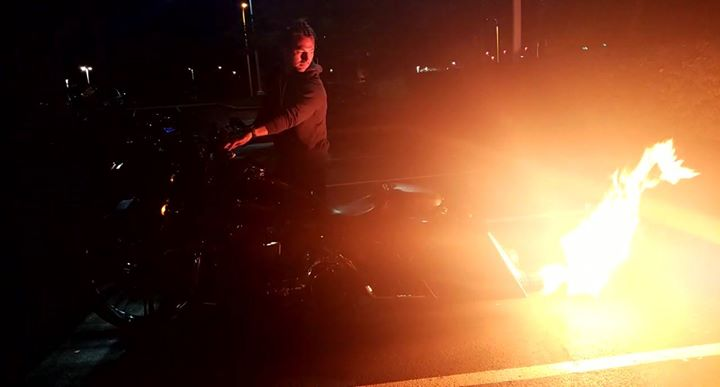 Attorney Justin Flickinger lightin up the Quaker Steak and Lube bike night last …